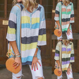 Women Striped Loose Casual Round Neck Half Sleeve T-shirt
