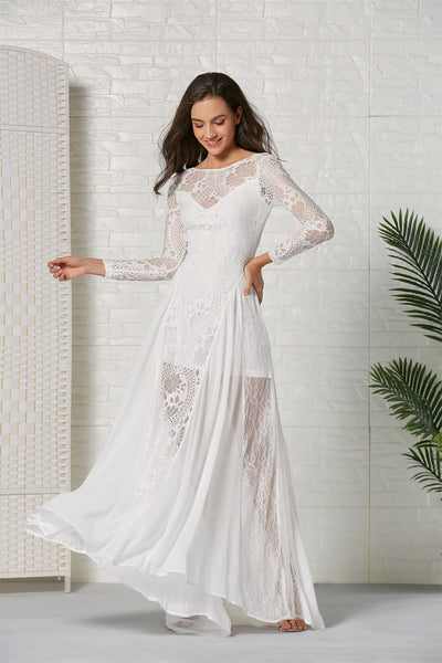 Women Elegant Lace Sexy Backless Wedding Dress