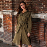 Women Long Sleeve Turn Down Collar Casual Solid A-Line Midi Dress