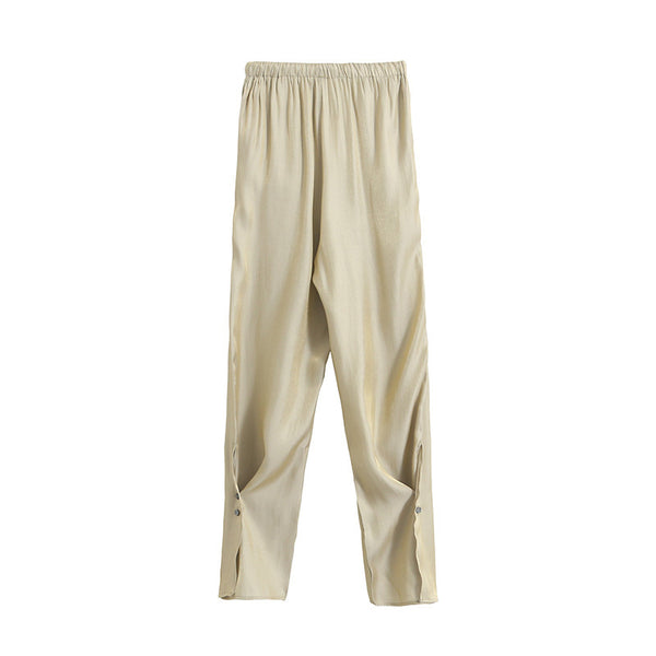 Women Casual Split Elastic Waist Wide Leg Pants