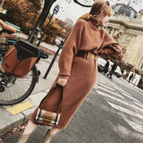 Long over-the-knee slim high-neck pullover sweater dress