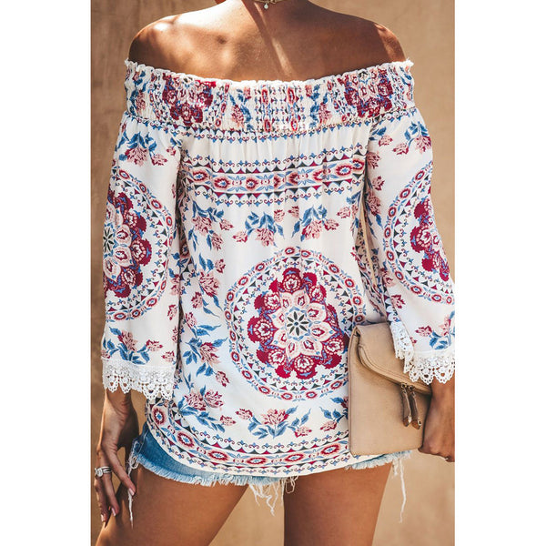 New women's print sexy strapless neck collar cropped sleeves loose shirt