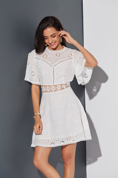 Women Backless Hollow Out Embroidery Mini Dress