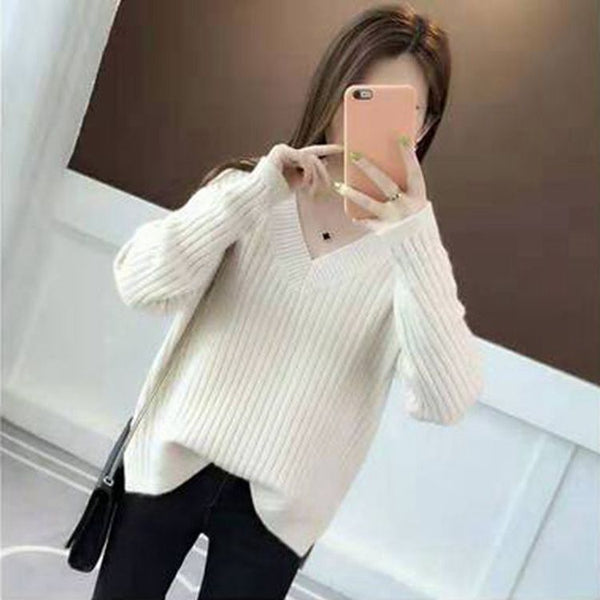 V-neck Solid Knitted Pullover Loose Sweater