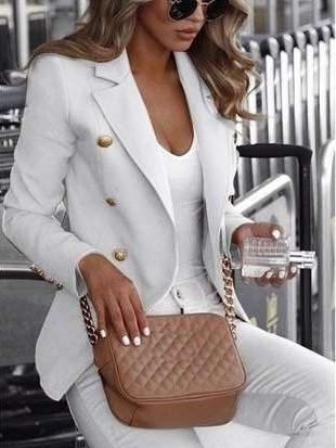 Fashion Lapel Pure Long sleeve Blazer