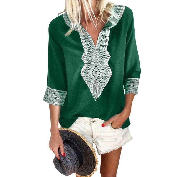 New ethnic embroidery female seven-point sleeve V-neck pullover loose shirt