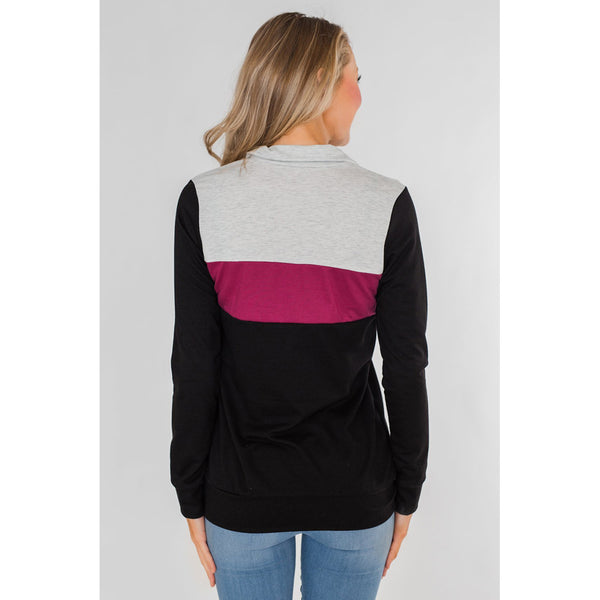 Women's Lapel Zipper Contrast Sweatshirt