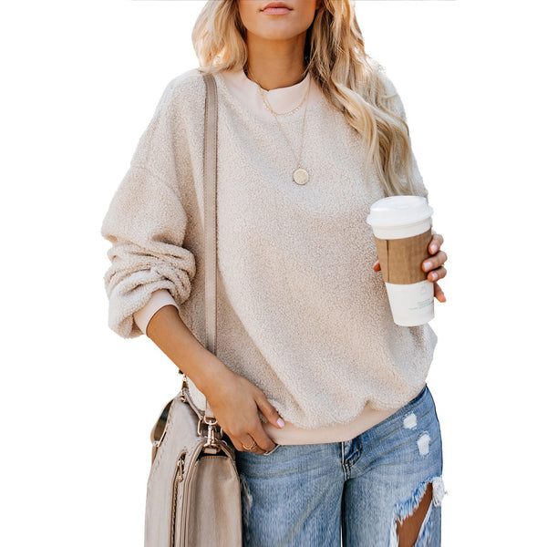 Women's round neck long sleeve loose casual autumn and winter new cashmere sweater