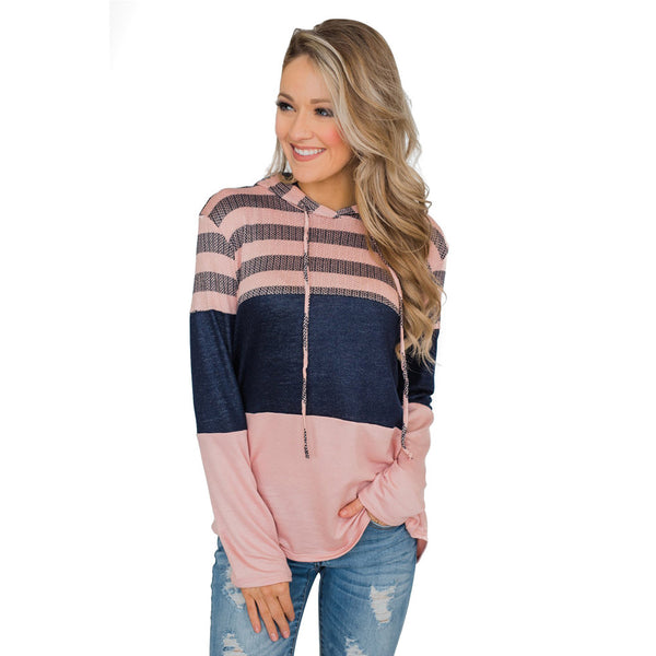 ew women's shirt loose design hoodie pullover long sleeve contrast color sweater