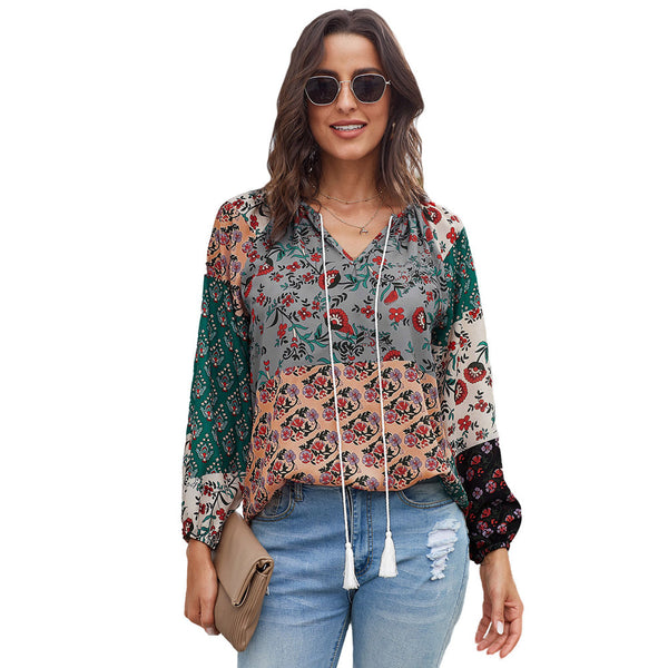 Female autumn new European and American printed long-sleeved loose hooded wild chiffon shirt