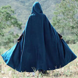 Women Fashion Vintage Hooded Cloak Solid Color Outwear
