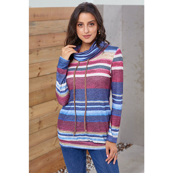 Women Cowl Neck Striped Long Sleeve Drawstring Pullover Tops