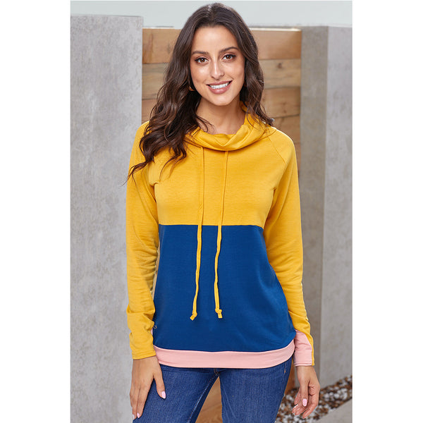 Contrast stitching pullover push-pull long-sleeved women's sweater
