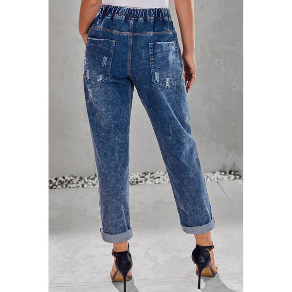 Elastic waist jeans female loose tied rope waist large pockets worn nine points large size jeans