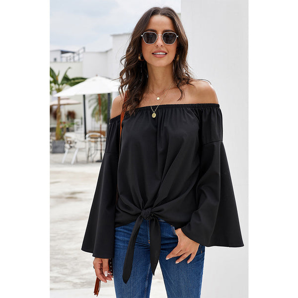 Women Fashion Off Shoulder Slash Neck Long Sleeve Tie Blouse