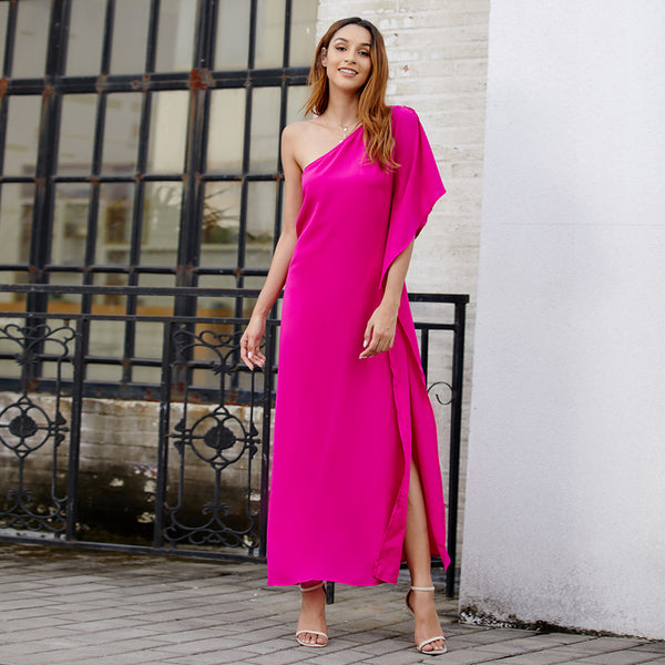 New Stylish One Shoulder Solid Color Irregular Sexy Maxi Dresses