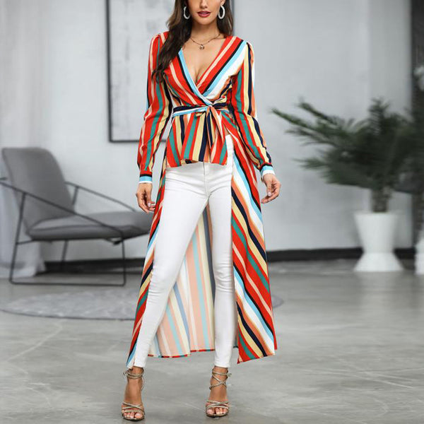 Women Long Sleeve Multicolor Striped Sexy V-neck Maxi Dress