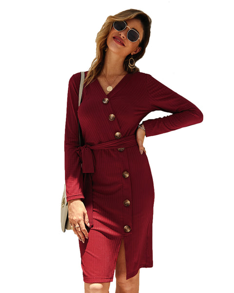 Women Knitted Button V-neck Long Sleeve Split Sexy Bodycon Dress