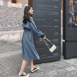 Women New Stylish Long Sleeve Bandage Midi Dress