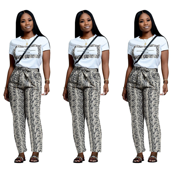 Women's Fashion Snake Pants Short Sleeve Set