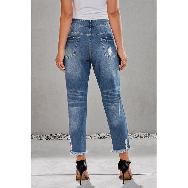 Female high waist hole loose straight pants broken foot edge nine points jeans