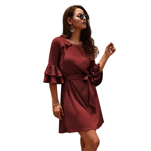 Women Solid Color Three Quarter Butterfly Sleeve O-neck Mini Dress
