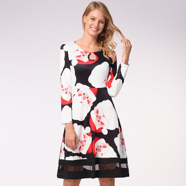 Snowman Deer Print Retro Christmas Maxi Dress