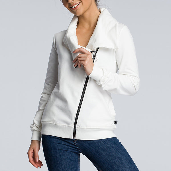 New Fashion Solid Long Sleeve Pullover Zipper Coat