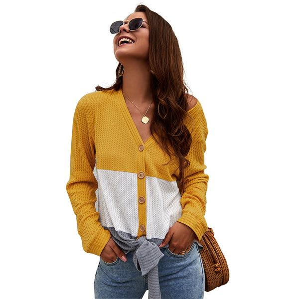 Long Sleeve Knitted V-neck Button Up Blouse
