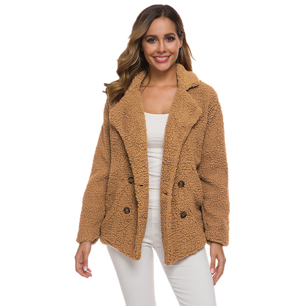 Autumn and winter explosions double-breasted grain velvet lapel loose plush coat