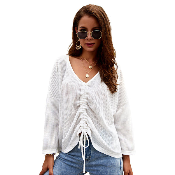 Women V-neck Loose Long Sleeve Solid Knitted Blouse