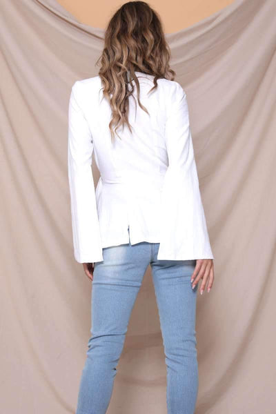 Fashion V neck Pure Tee Lacing Blazer