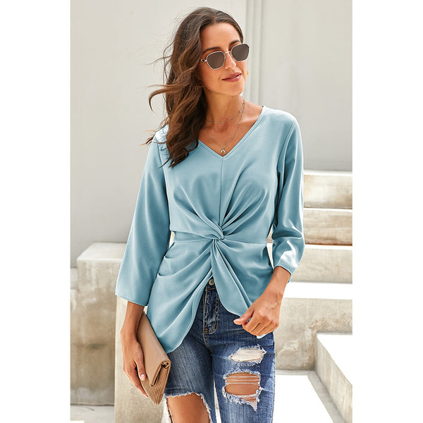 New loose head V-neck cropped sleeves chic t-shirt