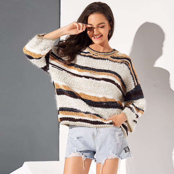 Women Striped Knitted Casual Pullover Elegant Sweaters