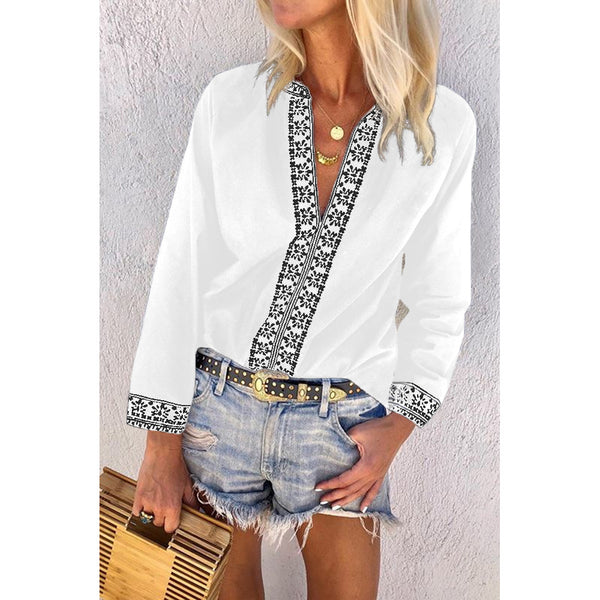Vintage Printed V-neck Casual Blouse Tops