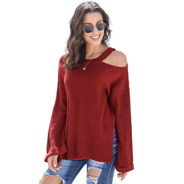 Women New Knitting Long Sleeve Sexy Pullover Sweater