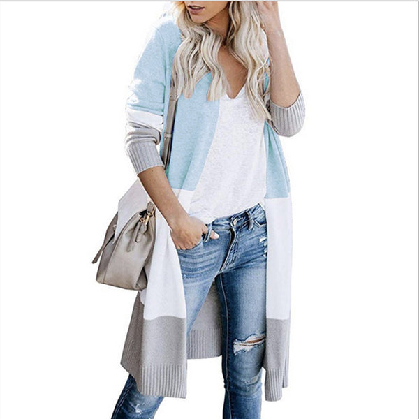 Multicolor Long Sleeve Loose Knitted Cardigan Sweaters