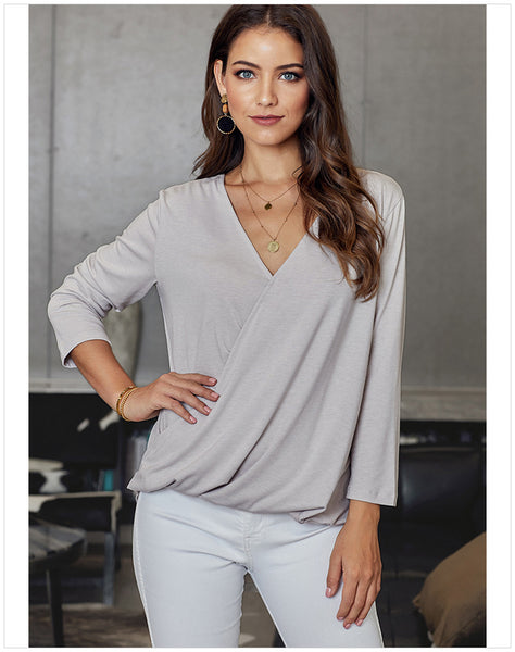 Women Cross V-neck Pleated Asymmetrical Casual Solid Blouses