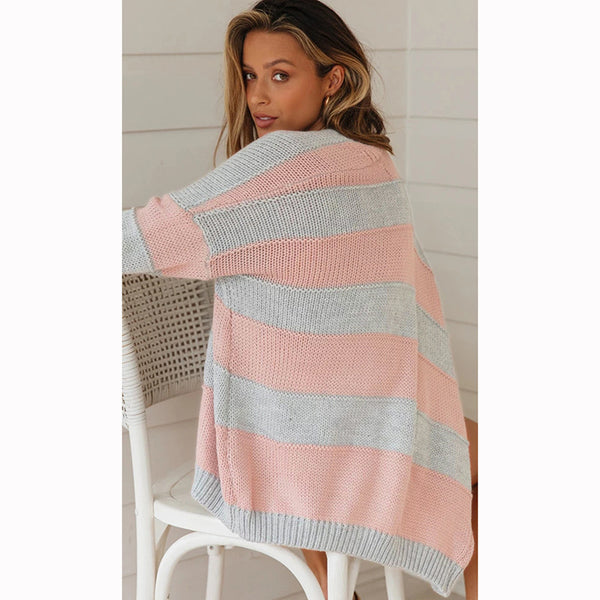 Loose Knitted Long Sleeve Striped Cardigan