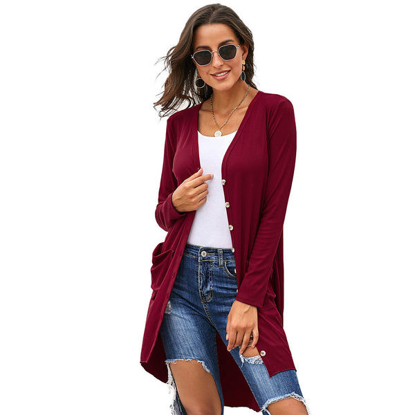 Women Casual Knitted Button Solid Cardigan