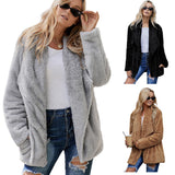 Women Long Sleeve Fluffy Warm Coat