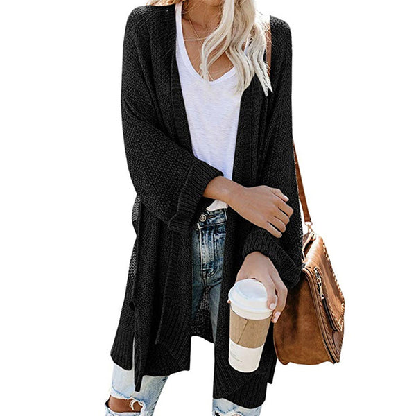 Solid Color Long Sleeve Side Split Knitted Cardigan Sweater