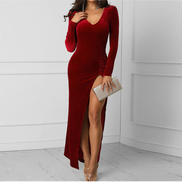 Women Sexy V-neck Side Slit Solid Color Bodycon Dress