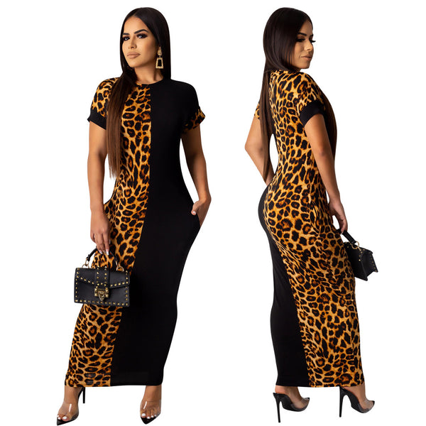 Leopard Patchwork Short Sleeve Fashion Maxi Dress