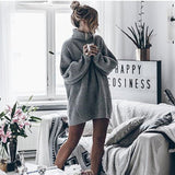 Women Long Sleeve Casual High-neck Pullover Knitting Sweater