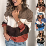 Fashion Patchwork O-neck Warm Knitted Sweaters