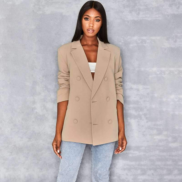 Casual Pure Double-breasted Long sleeve Blazer