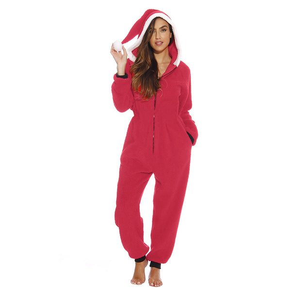 Casual Solid Zipper Hooded Christmas Jumpsuits