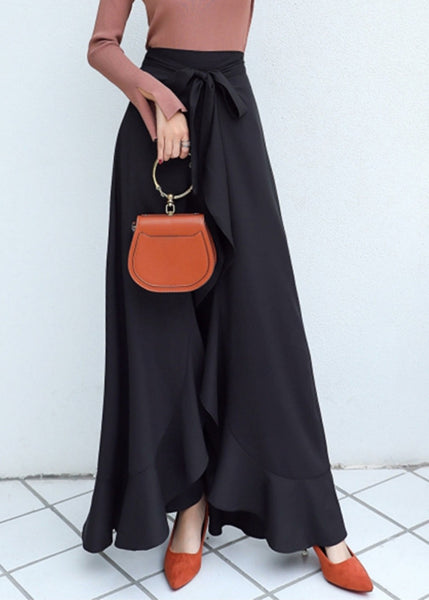 Causal Ruffle Drawstring  High Waist Irregular Skirt Pants
