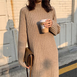Turtleneck Knitted Elegant Solid Color Basic Long Sweater Dress